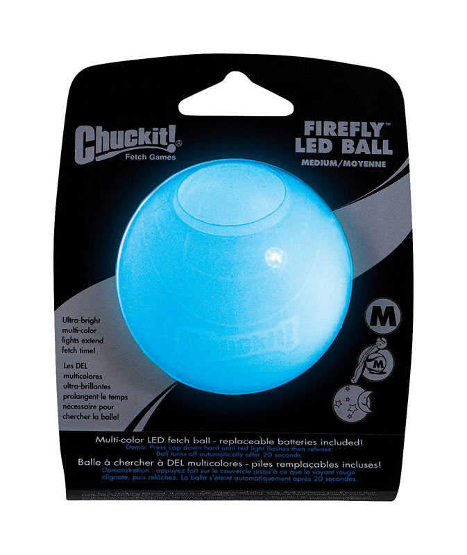 Chuckit!  Multicolored  Firefly LED  Rubber  Bounce Ball  Medium