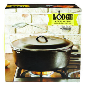 Lodge  Logic  Cast Iron  Dutch Oven  12.875 in. 9 qt. Black