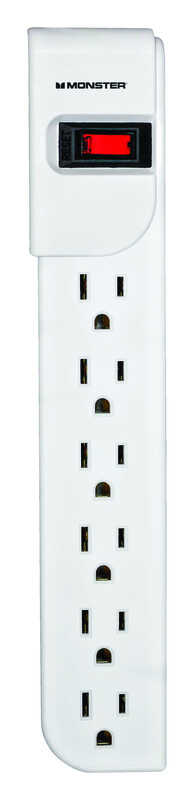 Monster Cable  Just Power It Up  3 ft. L 6 outlets Power Strip  White