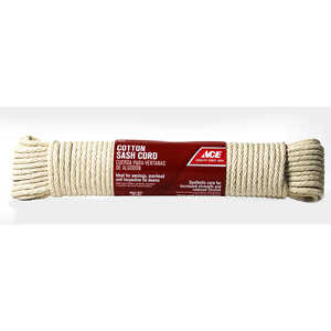 Ace  100 ft. L x 1/4 in. Dia. White  Cord  Cotton  Solid Braided
