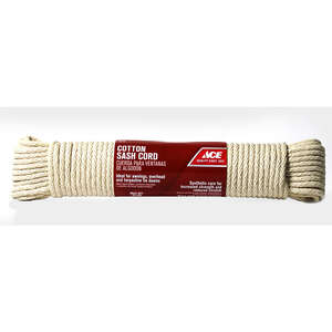 Ace  100 ft. L x 1/4 in. Dia. White  Solid Braided  Cotton  Cord