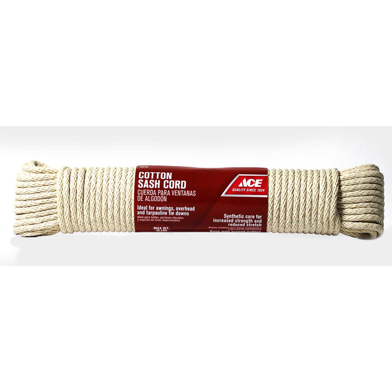 Ace  1/4 in. Dia. x 100 ft. L White  Solid Braided  Cotton  Cord