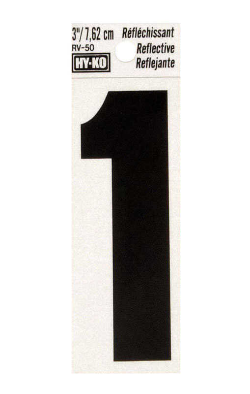 Hy-Ko  3 in. Vinyl  1  Number  Self-Adhesive  Black  Reflective