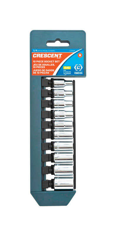 Crescent  1/4 in.  SAE  6  Socket Set  10 pc.