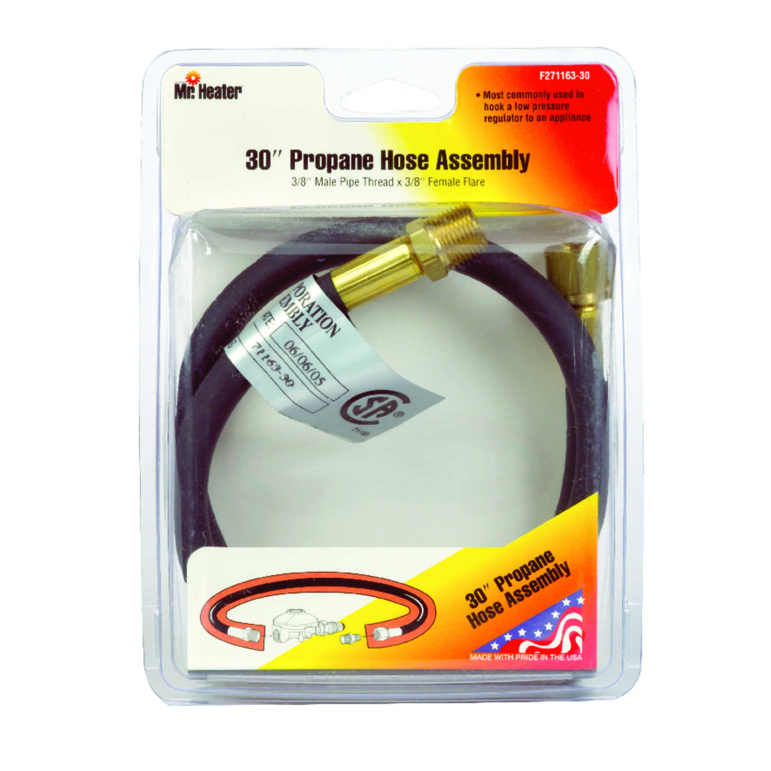 Mr. Heater  3/8 in. Dia. x 3/8 in. Dia. Brass/Plastic  Hose Assembly