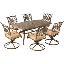 Hanover  Traditions  7 pc. Bronze  Aluminum  Traditions  Patio Set  Tan