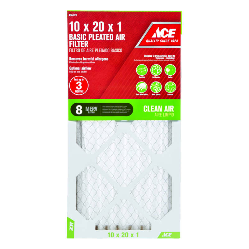 Ace  10 in. W x 20 in. H x 1 in. D Pleated  8 MERV Pleated Microparticle Air Filter