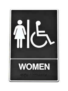 Hy-Ko  English  Women (Handicap, Braille)  6 in. W x 9 in. H Plastic  Sign