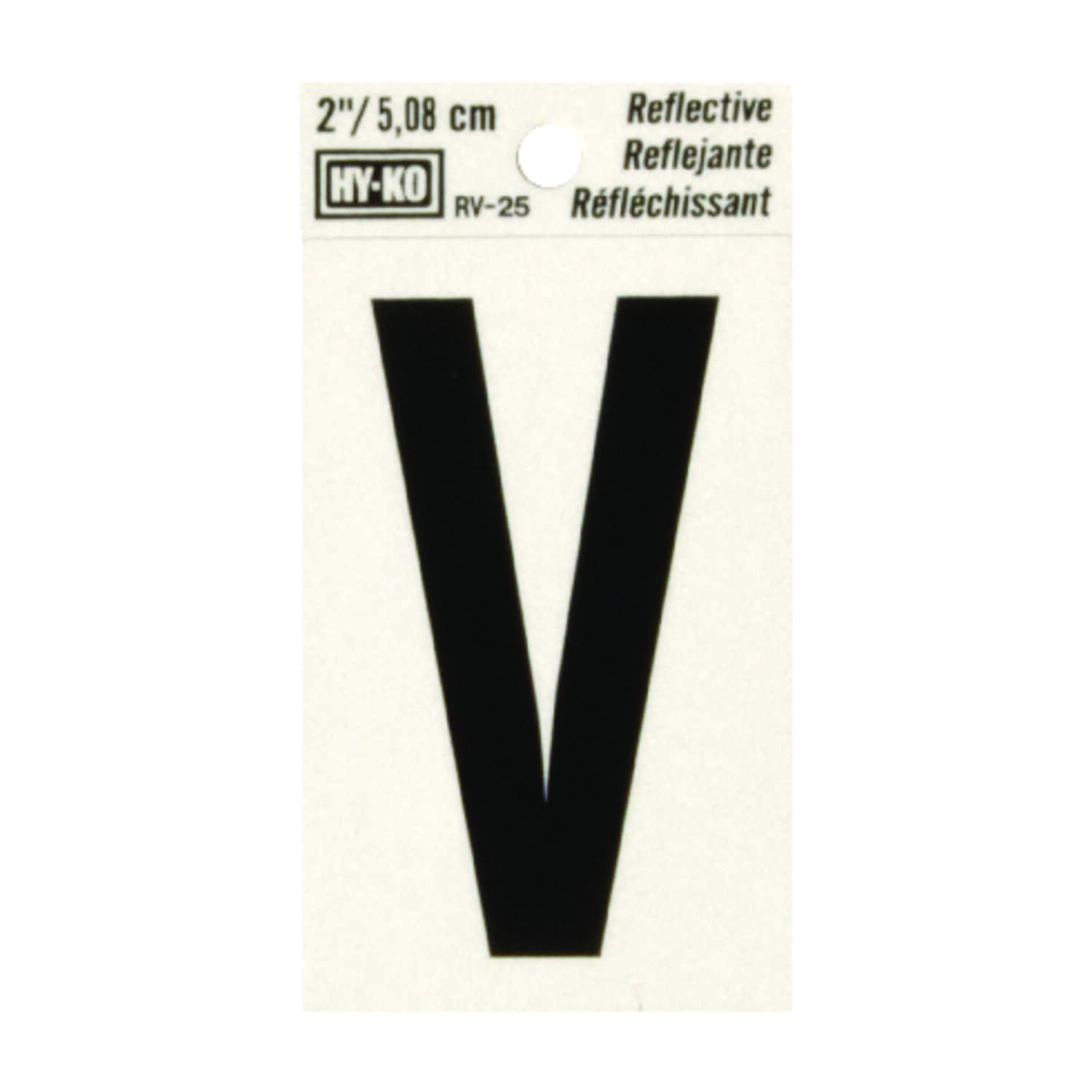 Hy-Ko  2 in. Reflective Black  V  Letter  Vinyl  Self-Adhesive