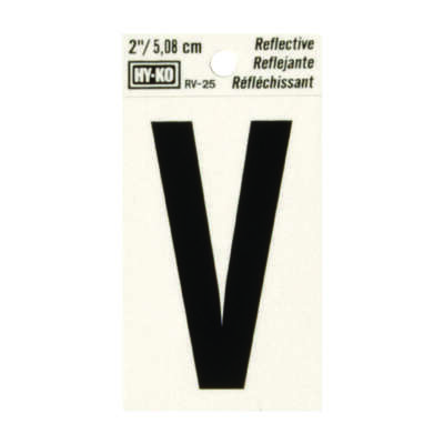 Hy-Ko  2 in. Reflective Black  Vinyl  Self-Adhesive  Letter  V  1 pc.