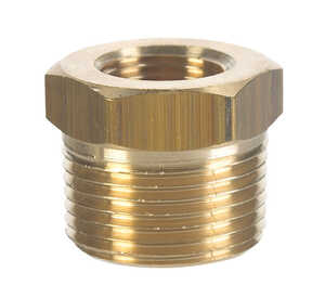 JMF  1/2 in. Dia. x 3/8 in. Dia. MPT To FPT  Yellow Brass  Hex Bushing