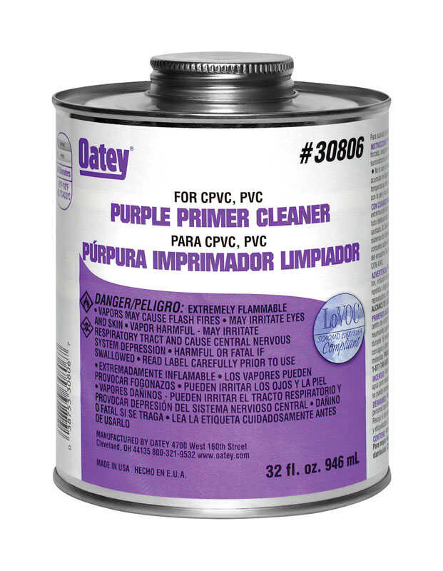 Oatey  Purple  Cement and Cleaner  For CPVC/PVC 32 oz.