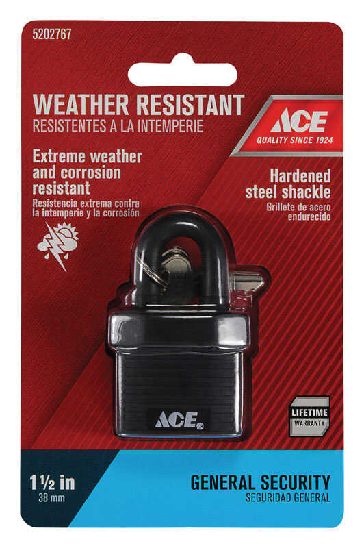 Ace  1-3/8 in. H x 1-3/8 in. W x 13/16 in. L Steel  Double Locking  Padlock  1 pk