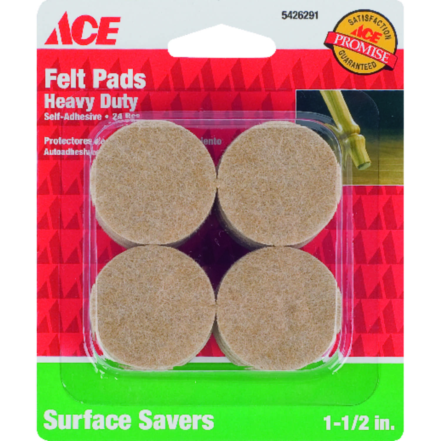 Ace  Felt  Self Adhesive Pad  Round  1-1/2 in. W Brown  Self Adhesive 24 pk