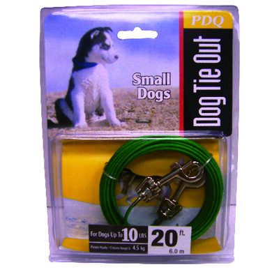 Boss Pet  PDQ  Green / Silver  Vinyl Coated Cable  Dog  Tie Out  Small