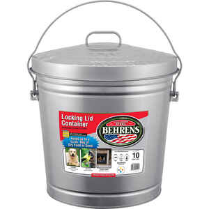 Behrens  10 gal. Galvanized Steel  Garbage Can  Lid Included Animal Proof/Animal Resistant