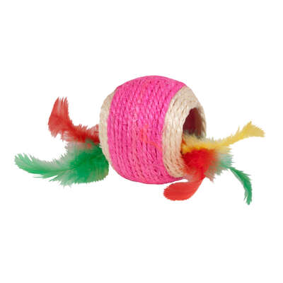 Kylies Brights Assorted Jute Ball with Feather Jute Cat Toy Large
