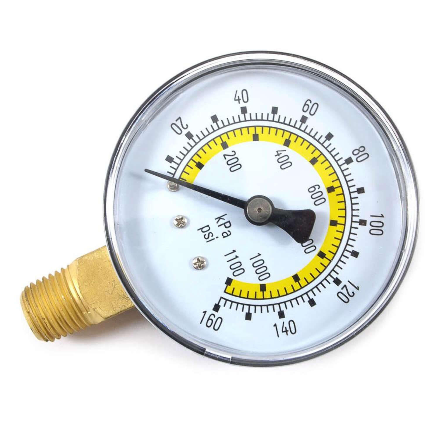 Forney  Plastic  Bottom Mount  Air Pressure Gauge  1/4 in. NPT  160 psi 1 pc.