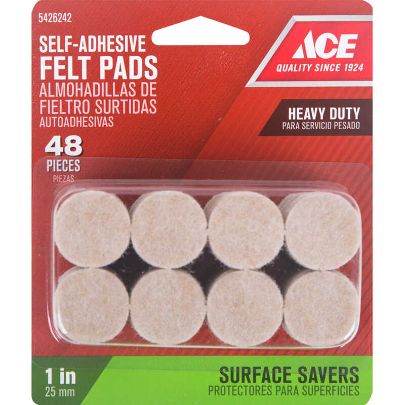 Ace  Felt  Pad  Brown  Round  1 in. W 48 pk Self Adhesive