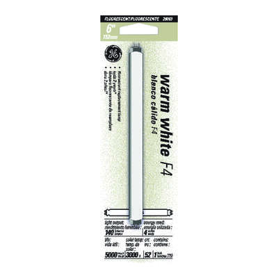 GE  4 watt T5  0.62 in. Dia. x 6 in. L Fluorescent Bulb  Warm White  Linear  3000 K 1 pk