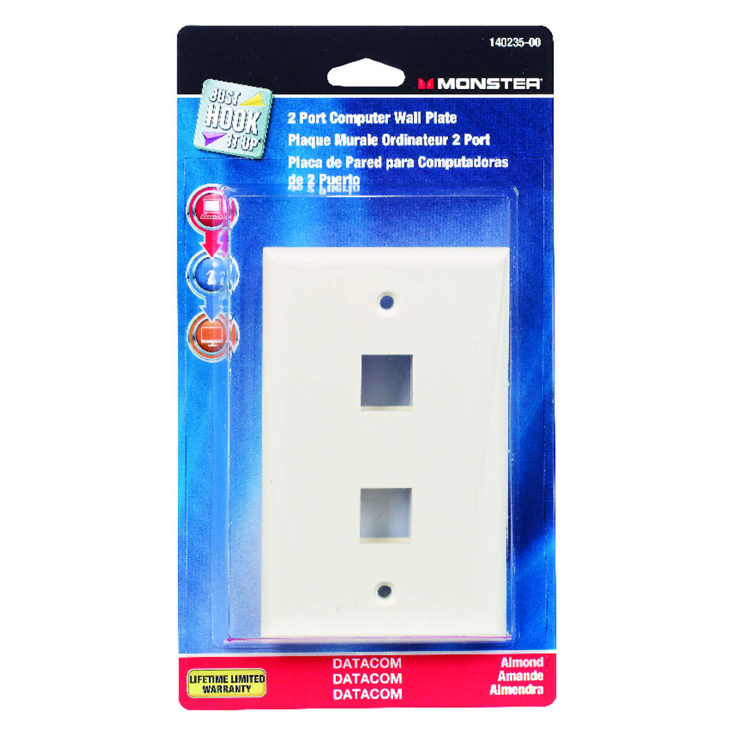 Monster Cable  Just Hook It Up  Almond  1 gang Plastic  Keystone  Wall Plate  1 pk