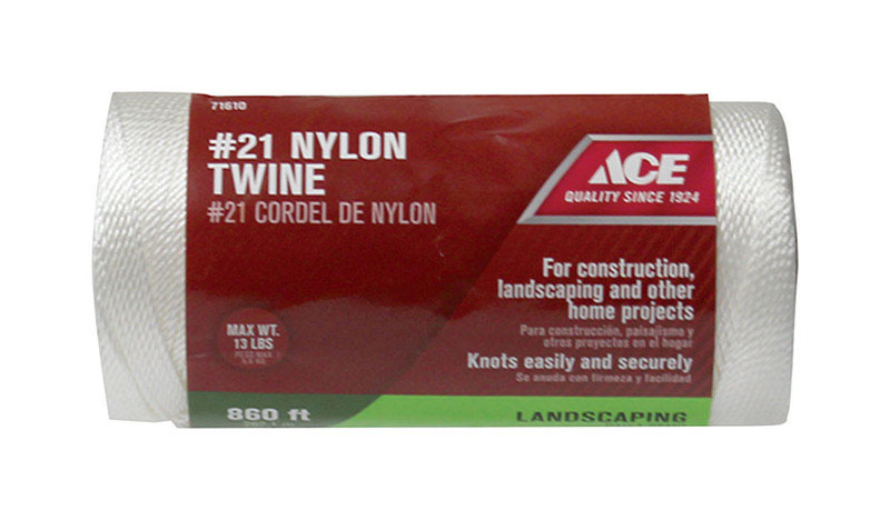 Ace  21 in. Dia. x 860 ft. L White  Nylon  Twisted  Twine