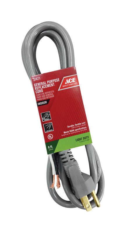 Ace 16/3 SJTW 125 volt 9 ft  L Appliance Cord - Ace Hardware