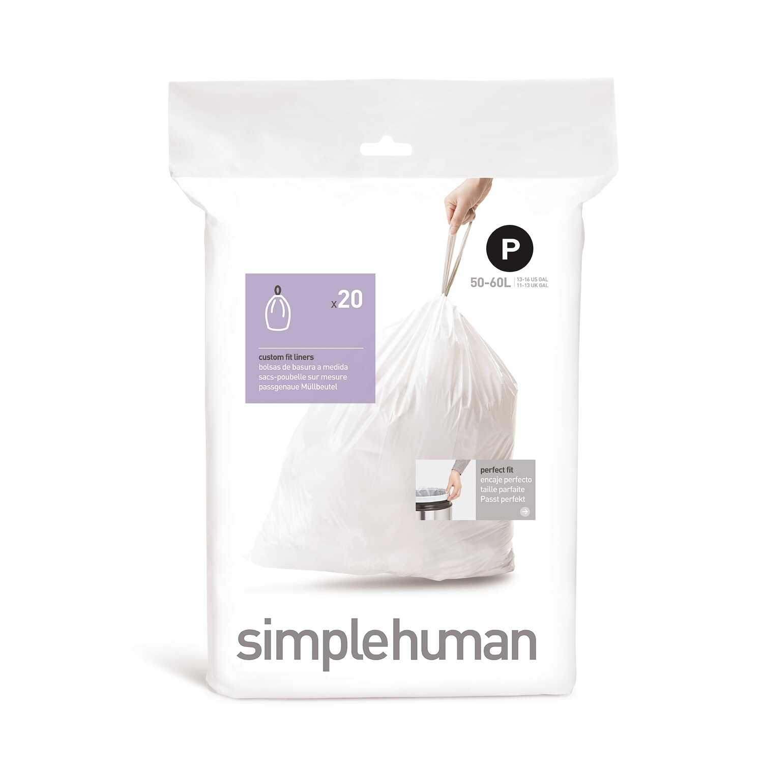 simplehuman  Custom Fit Code P  13 - 16 gal. Trash Bag Liner  Drawstring  20 pk