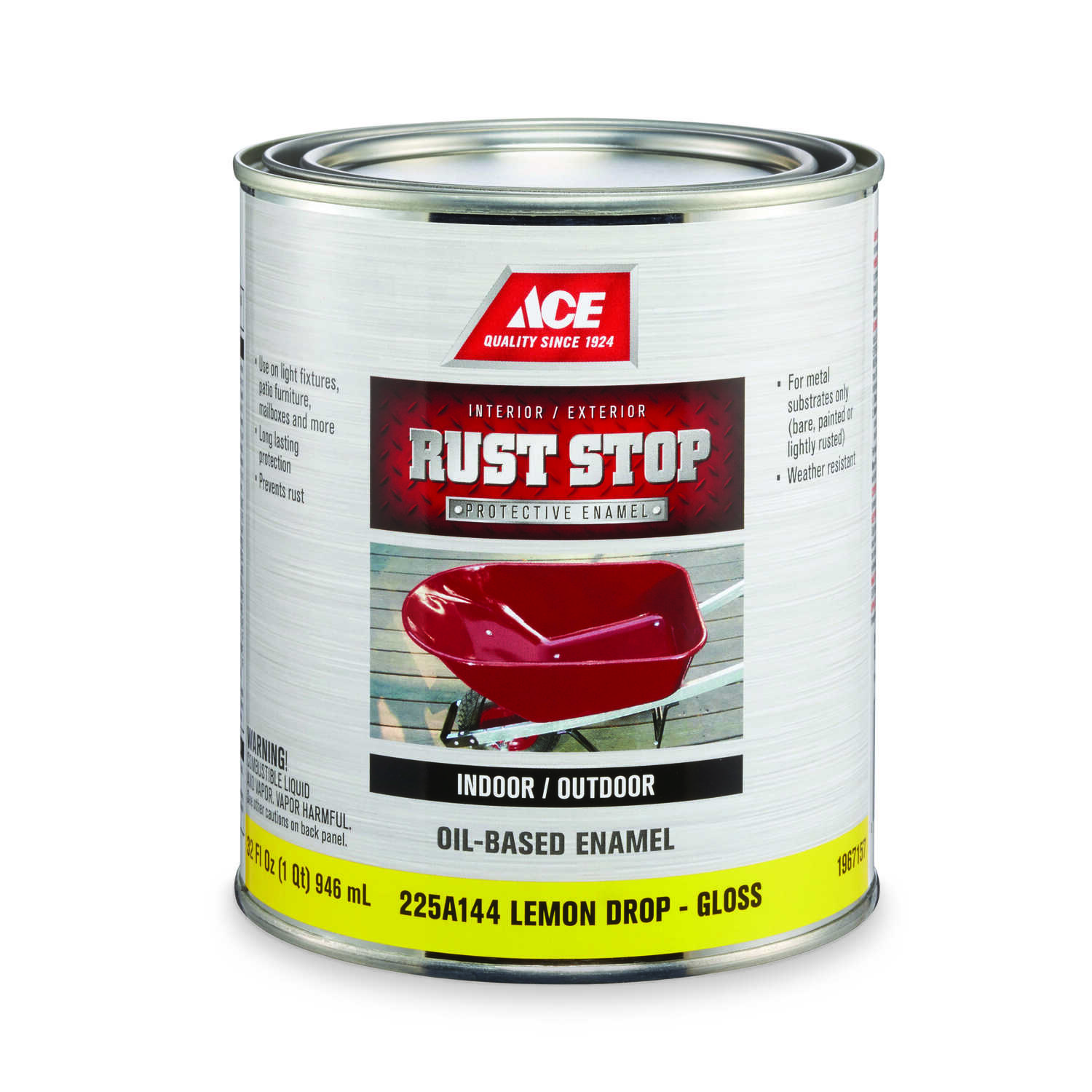 Ace  Rust Stop  Indoor and Outdoor  Gloss  Lemon Drop  Rust Prevention Paint  1 qt.