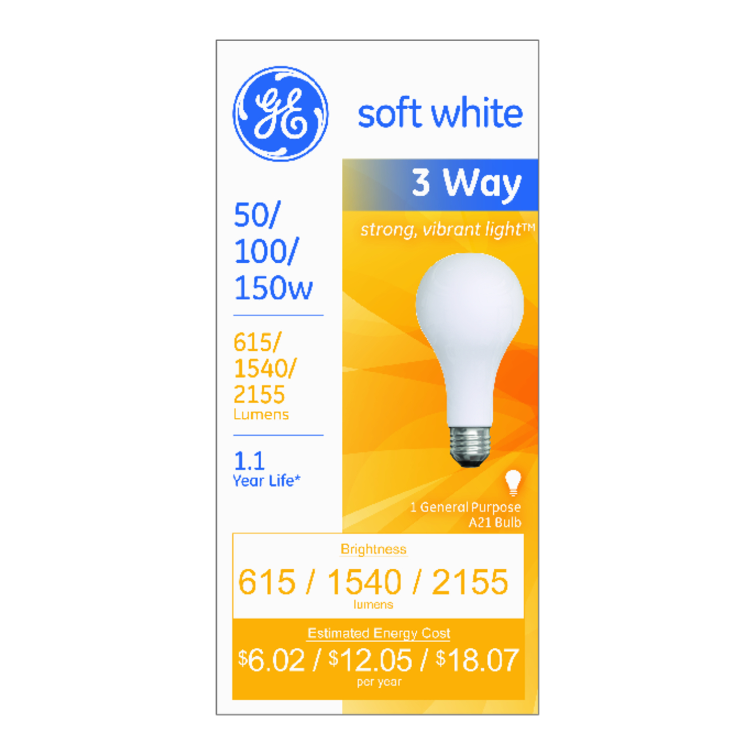 GE Lighting  50/100/150 watts A21  Incandescent Bulb  615/1,540/2,155 lumens Soft White  A-Line  1 p