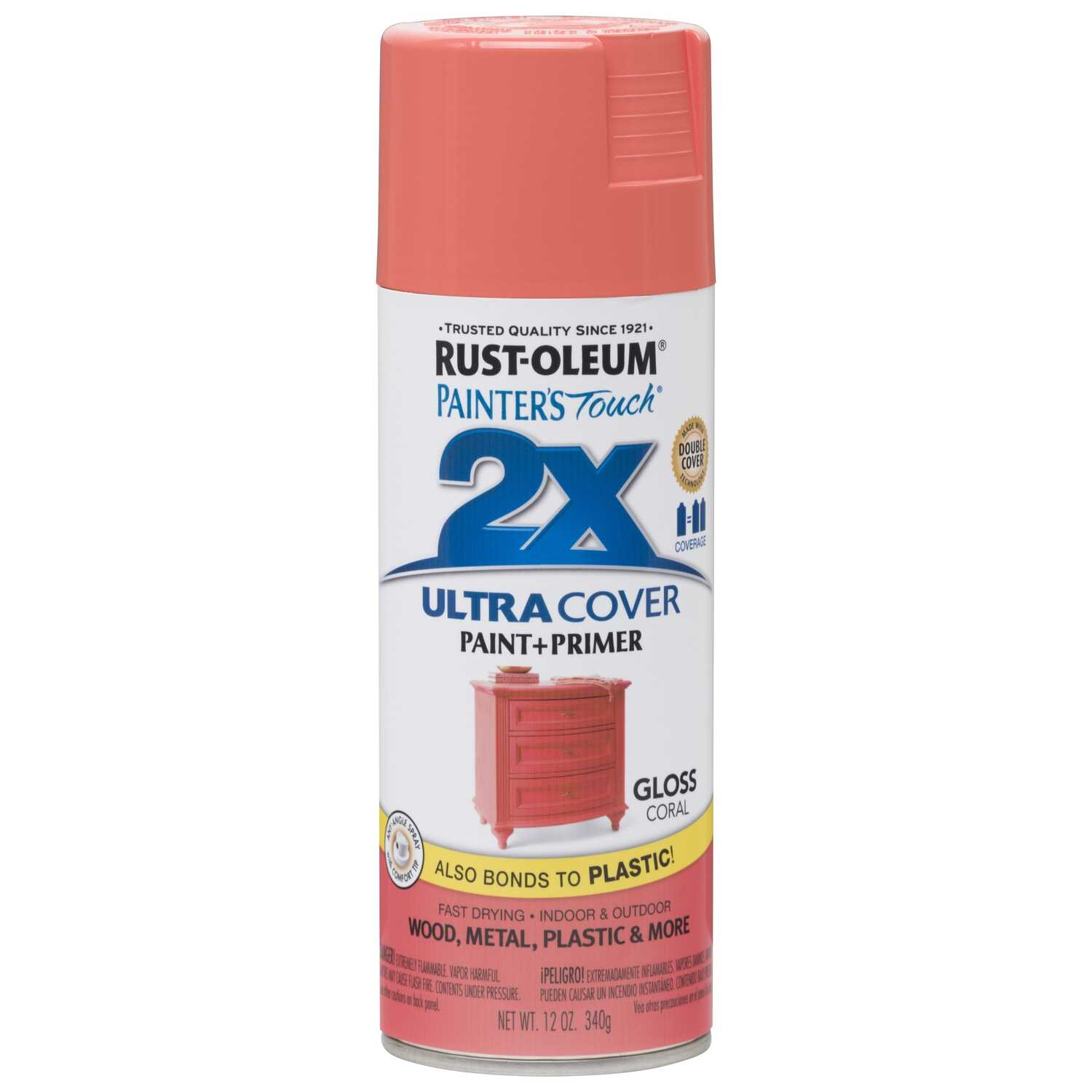 Rust-Oleum  Painter's Touch Ultra Cover  Gloss  Coral  Spray Paint  12 oz.