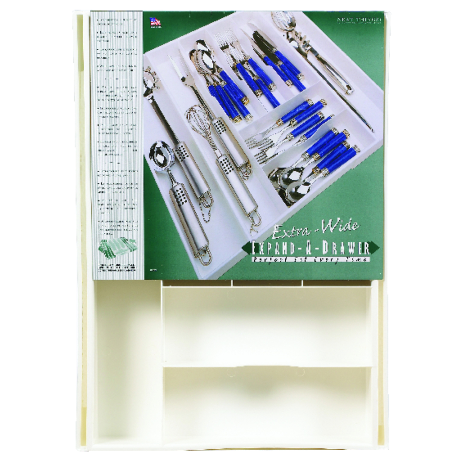 Expand-A-Drawer  2 in. H x 24 in. L x 18 in. W White  Plastic  Cutlery Tray