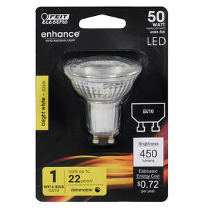 FEIT Electric  MR16  GU10  LED Bulb  Bright White  50 Watt Equivalence 1 pk