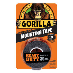 Gorilla  Double Sided 1 in. W x 60 in. L Mounting Tape  Black