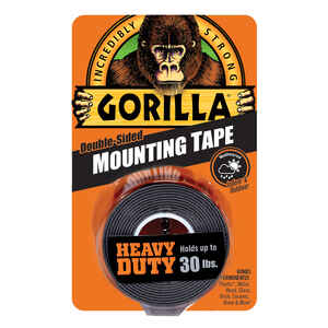 Gorilla  1 in. W x 60 in. L Mounting Tape  Black