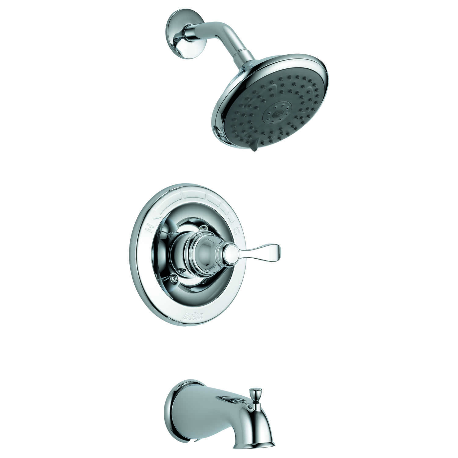 Delta  Tub and Shower Faucet  1 Handle  Porter  Chrome Finish Metal Material