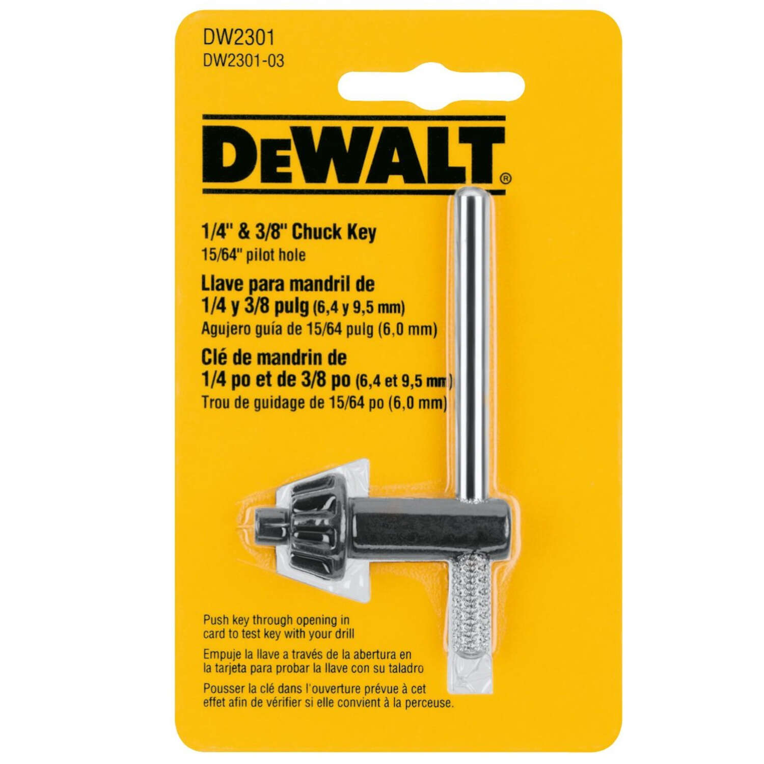 DeWalt  1/4 to 3/8 in.  x 15/64 in.  Chuck Key  T-Handle  Steel  1 pc.