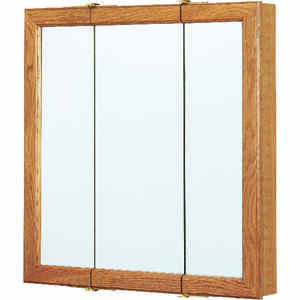 Continental Cabinets  24 in. H x 24 in. W x 4-1/4 in. D Rectangle  Oak  Tri-View Medicine