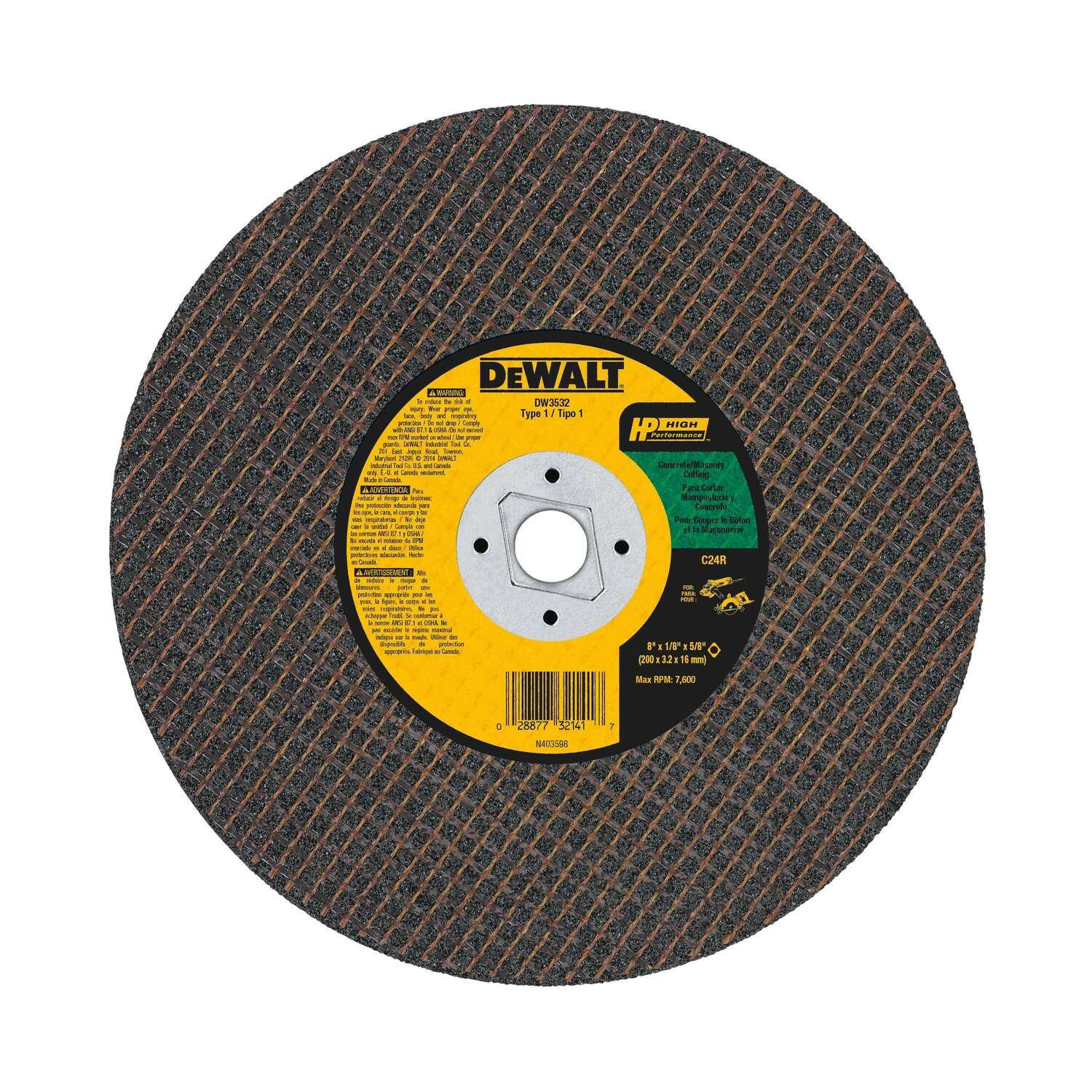 DeWalt High Performance 8 in. Dia. x 5/8 in. Silicon Carbide Masonry Cutting Saw Blade 1 pc.