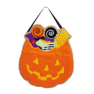 Evergreen  Halloween Pumpkin with Candy  Halloween Decoration  23 in. H x 21 in. W 1 pk