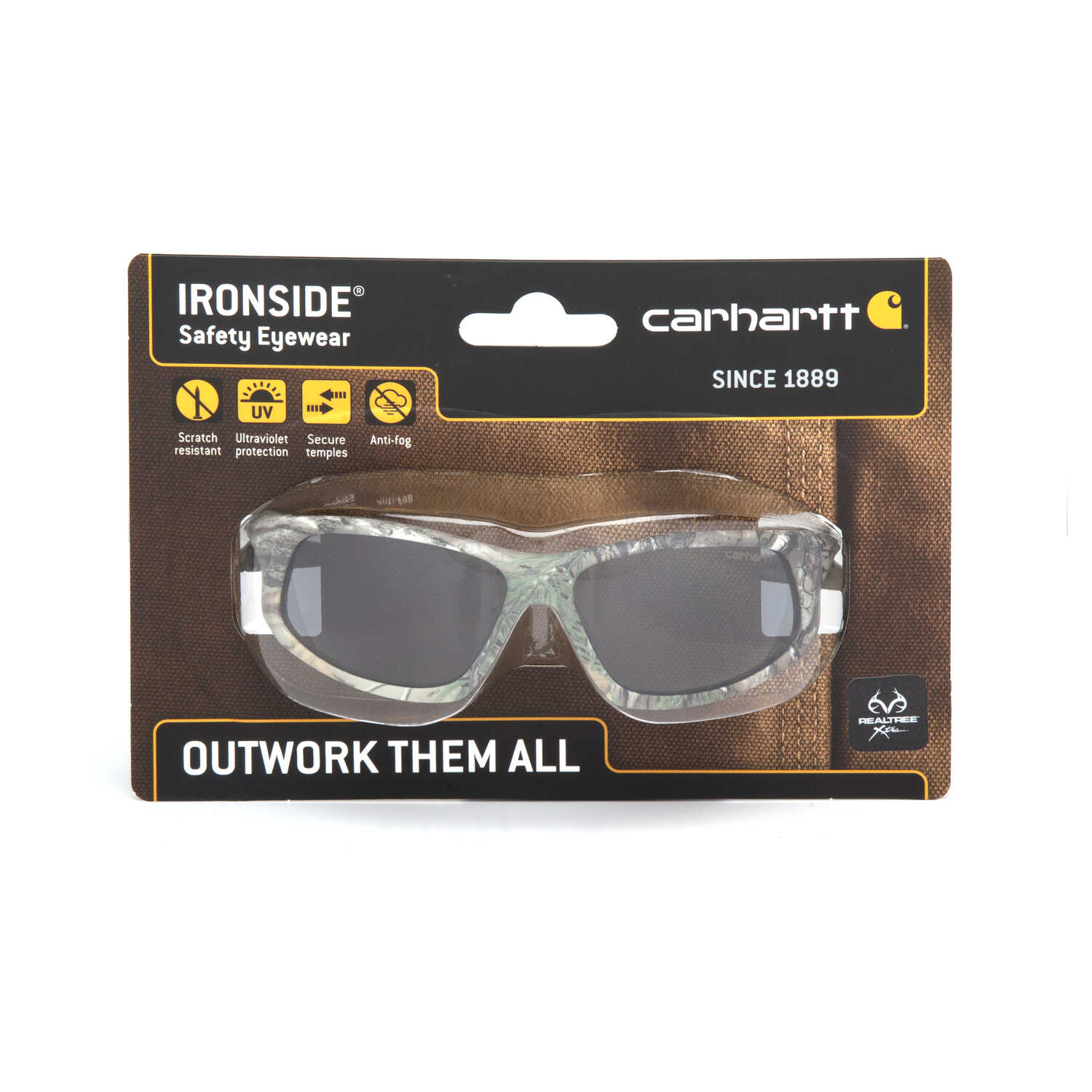 Carhartt  Ironside  Anti-Fog Safety Glasses  Gray Lens Realtree Camo Frame 1 pc.