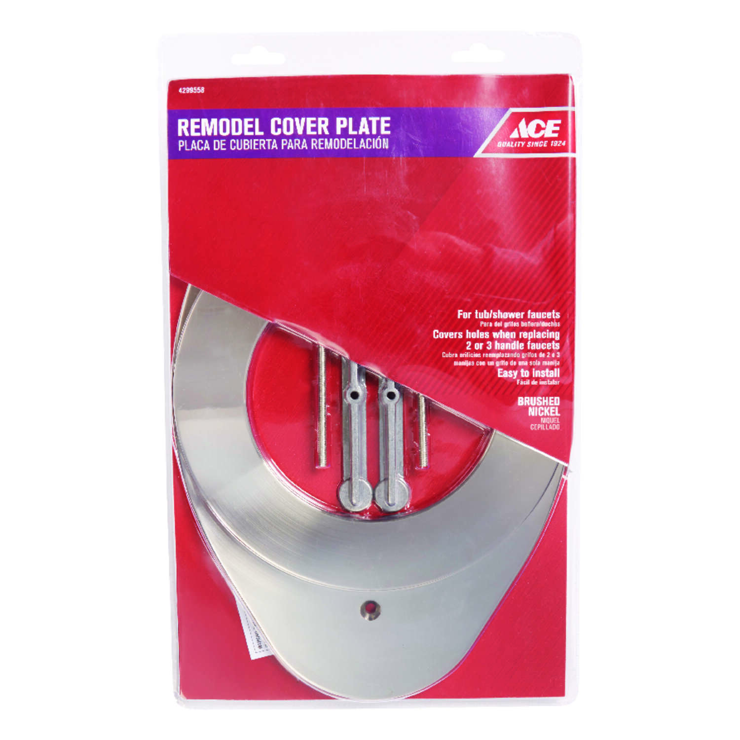 Ace Lever Brushed Nickel Single Lever Tub and Shower Remodel Cover ...
