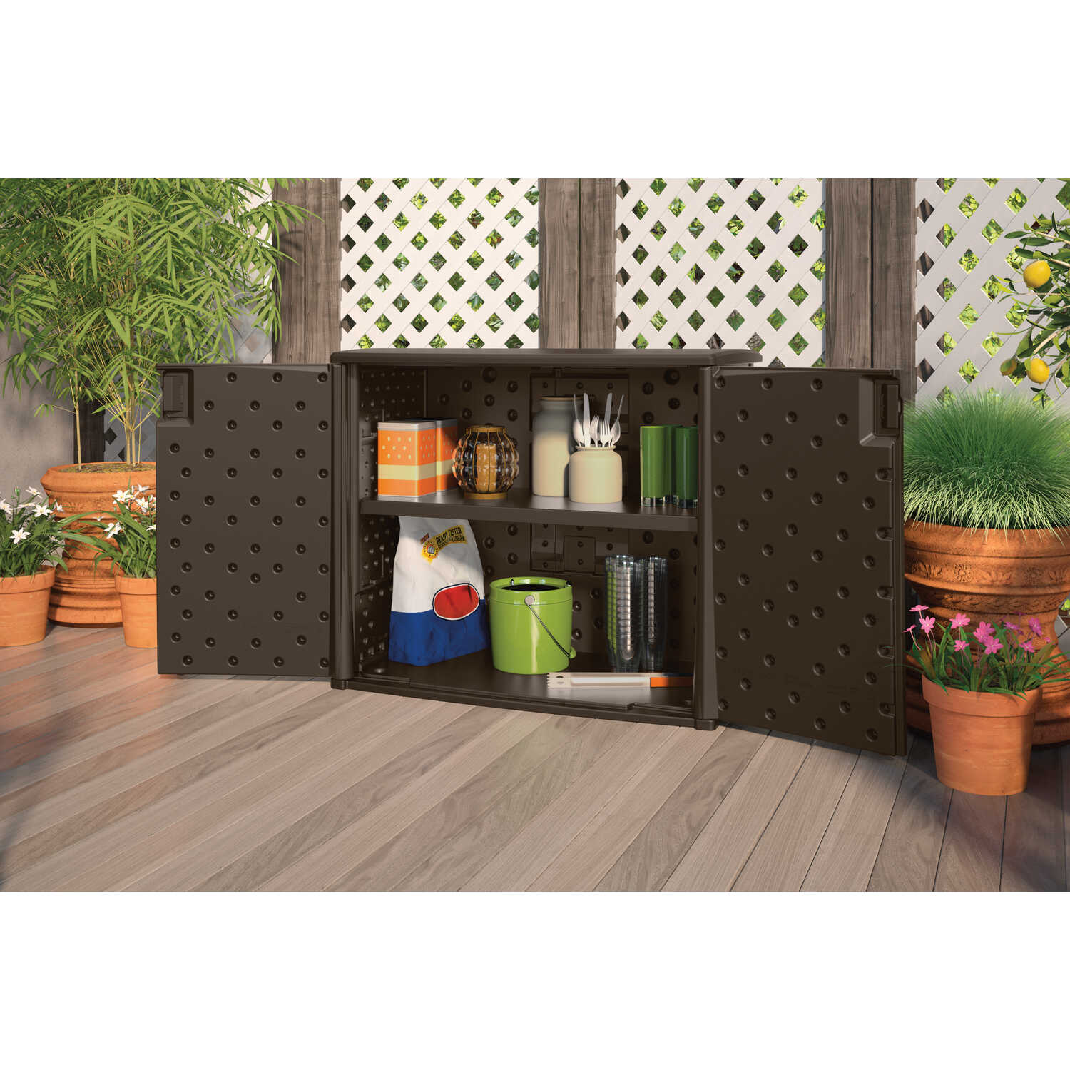 Suncast  Resin  35-1/4 in. H x 42-1/4 in. W x 23 in. D Brown  Outdoor Storage Cabinet