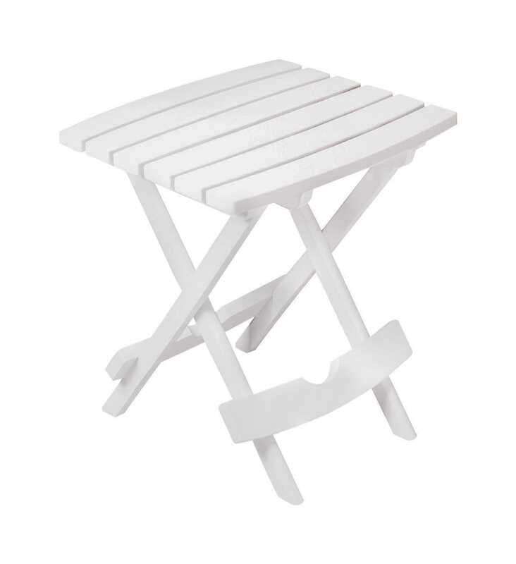 Adams  QuikFold  White  Polypropylene  Rectangular  Folding Side Table
