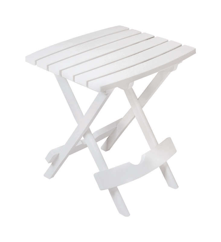 Adams  QuikFold  Rectangular  White  Polypropylene  Folding Side Table