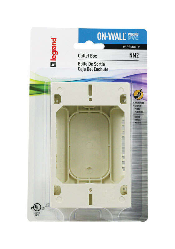 Wiremold 1.6 in. Rectangle Plastic 1 gang Outlet Box Ivory