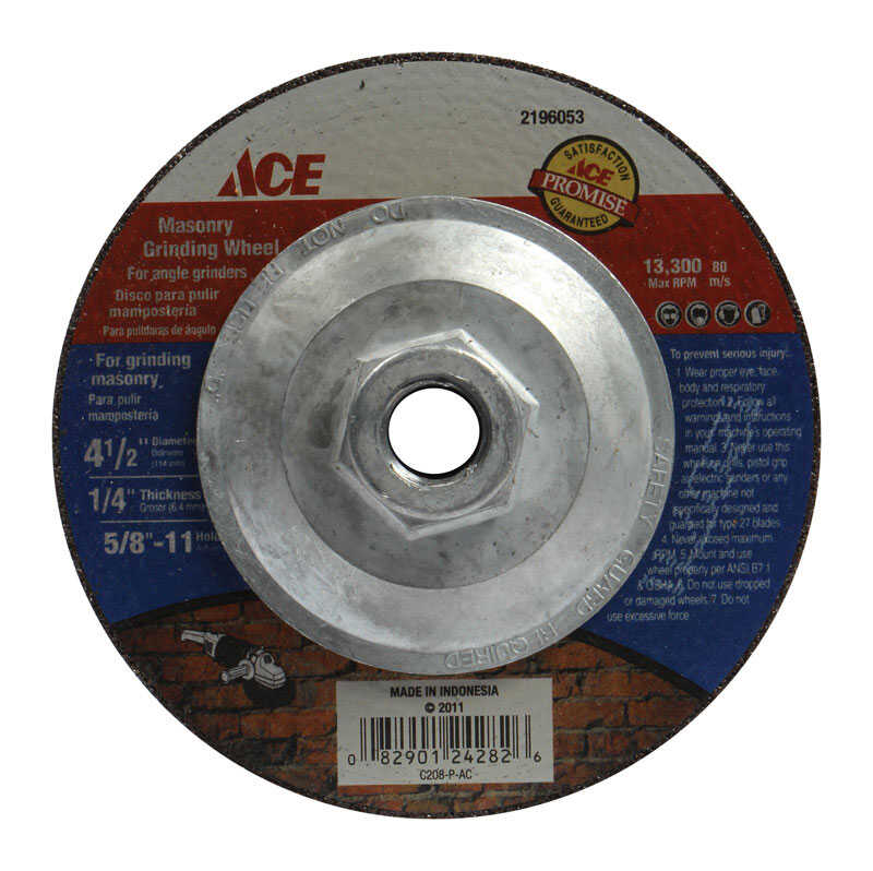 Ace  4-1/2 in. Dia. x 1/4 in. thick  x 5/8 in.   Aluminum Oxide  Masonry Grinding Wheel  13300 rpm 1