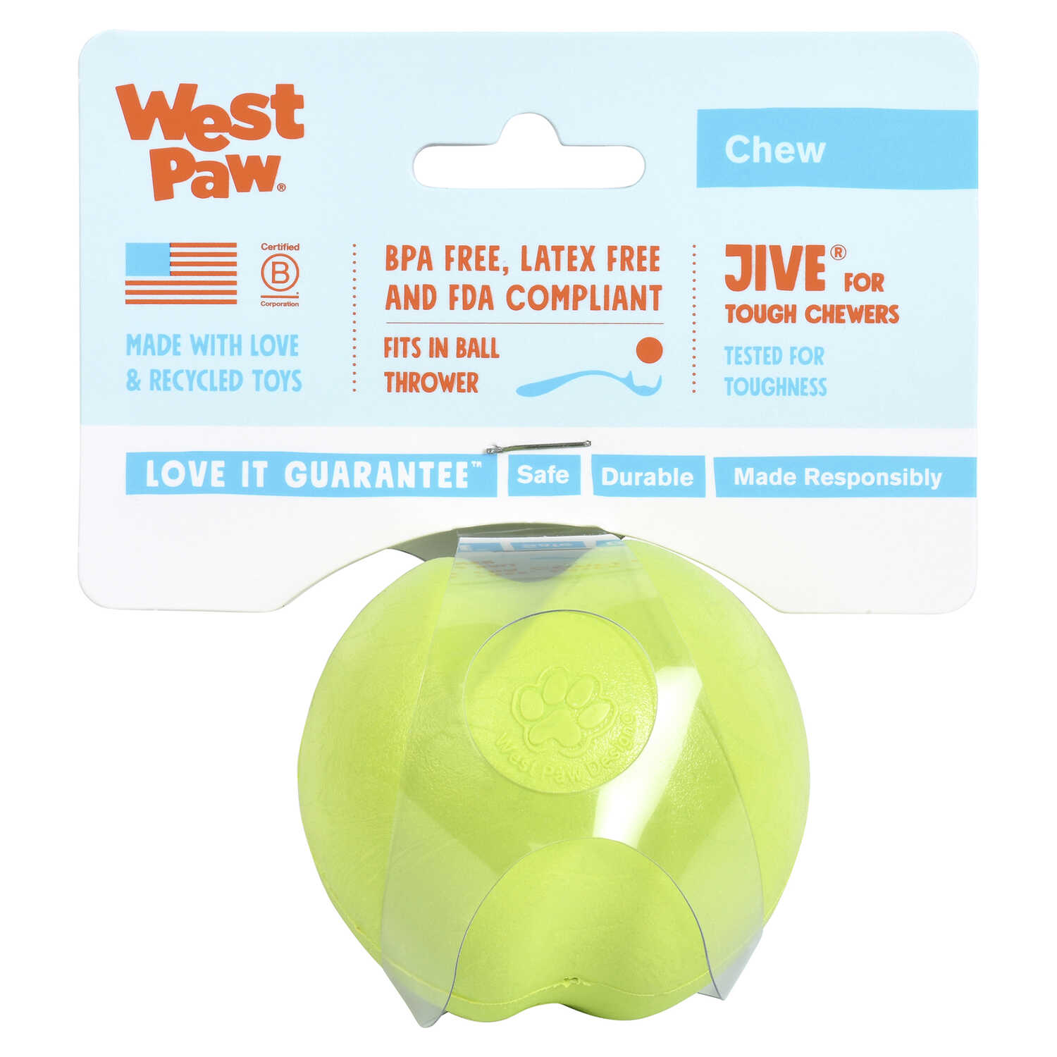 West Paw  Zogoflex  Green  Jive  Synthetic Rubber  Ball Dog Toy  Small
