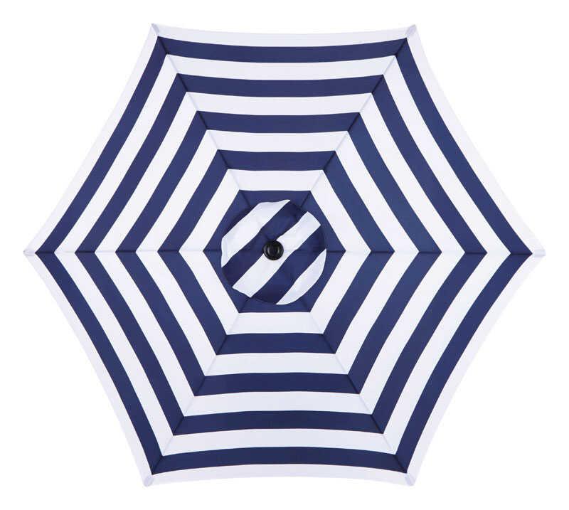 Living Accents Metropolitan Patio Furniture: Living Accents MARKET 9 Ft. Tiltable Navy Blue Stripe