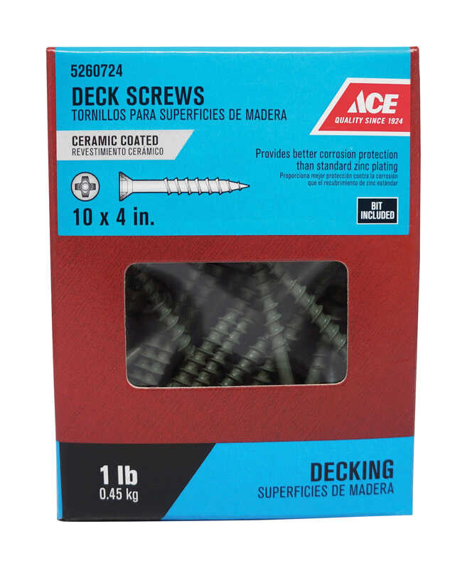 Ace  No. 10   x 4 in. L Phillips  Flat Head Ceramic Coated  Steel  Premium Deck Screws  1 lb. 60 pk